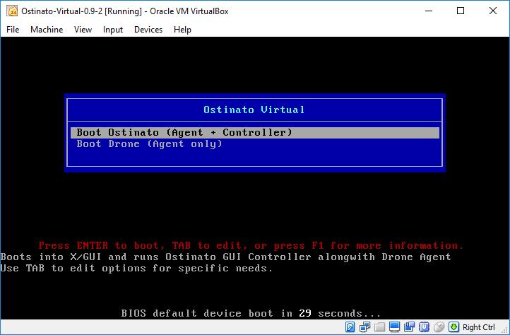 Ostinato Virtual Appliance Boot Screen