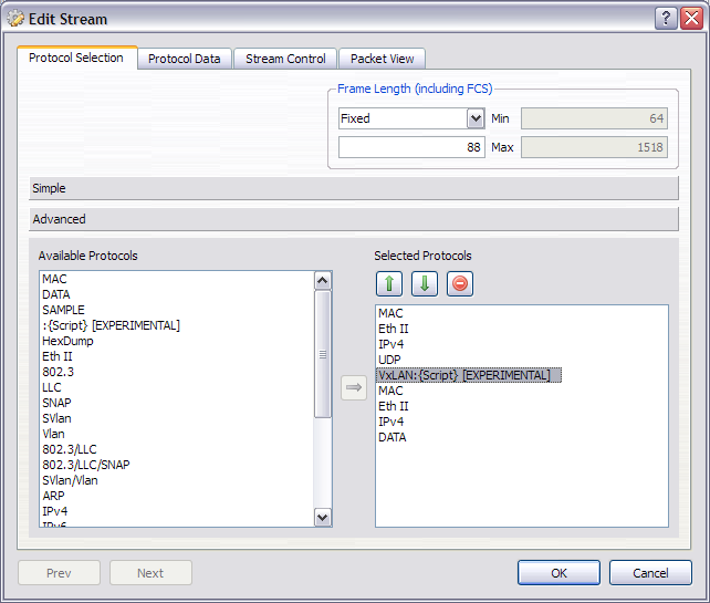 VxLAN frame protocols